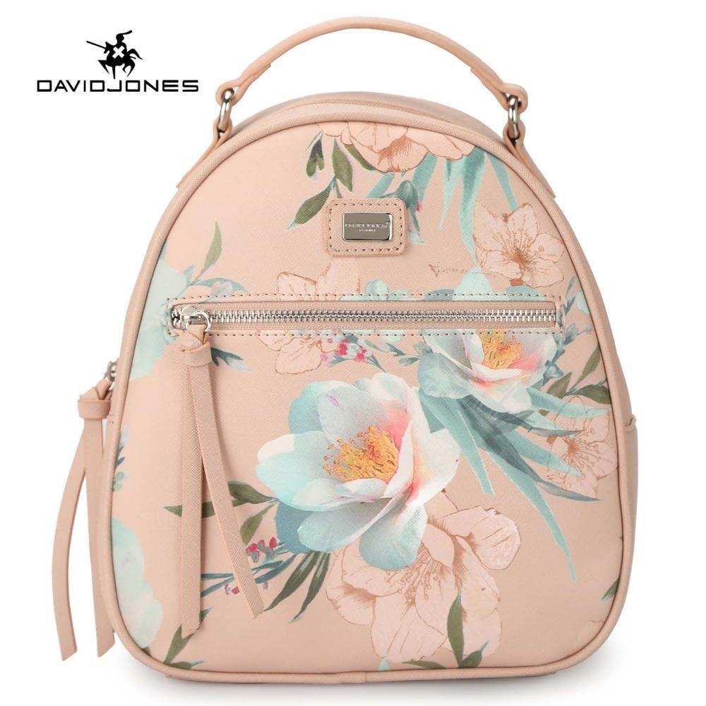 caída de David Jones mujeres mochilas de cuero de imitación femeninos bolsas de hombro señora grande del bolso de escuela de la flor del bordado softpack envío LY191203