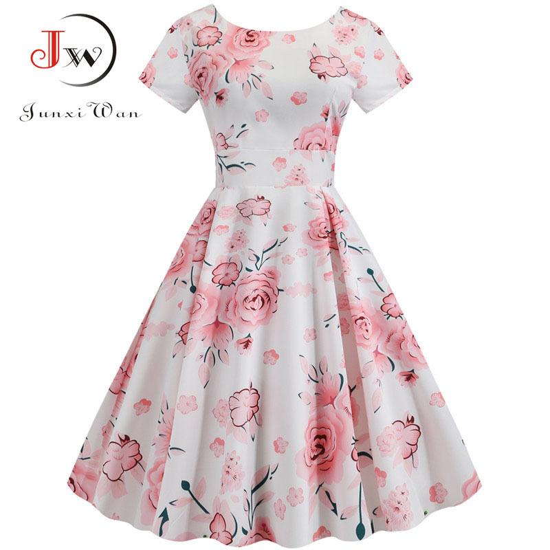 Estate stampa floreale Elegante una linea di partito del vestito da donna pro manica corta bianca dell'oscillazione Pin up Abiti più vintage Dimensioni Robe Femme