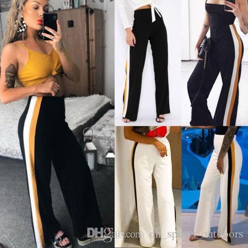 2019 New fashion New Fashion Women Casual High waist Bandage Loose Striped Wide Leg Long Pants Trousers XMAS GIFT