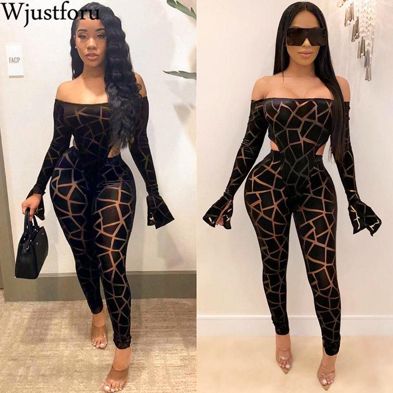 Wjust Foru Strapless Sexy Print Jumpsuit Women Off Shoulder Flare Clume Bodysuit Female Skiny Anixable Party Overall T200328