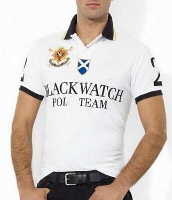 Black Watch Men's Slim Polo Shirts Big Horse Embroidery Casual Short Sleeve Polo Team T-Shirt Business American Boys Polos White Black S-XXL