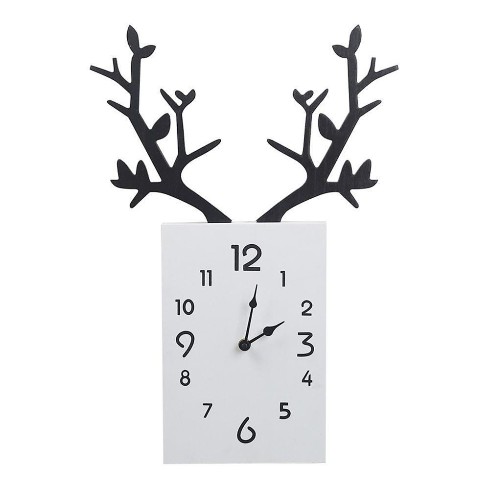 Деревянные Silent Deer Antler Настенные Часы Большие Настенные Часы Современный Дизайн Уникальная Гостиная Home Decor Лофт Будильник