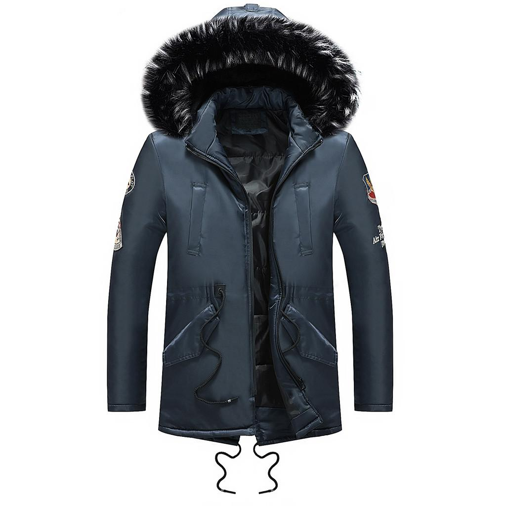 2018 Winter Men Warm Down Jacket Fur Collar Cotton Padded Long Parkas Mens Casual Removable Hooded Thick Coat Outwear Plus Size