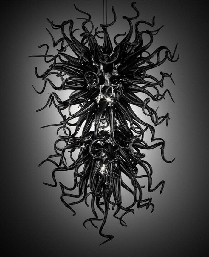 100% soprado lustres Borosilicate casamento Decoração Contemporânea Led Fonte de Luz inteligentes Luzes Murano vidro preto