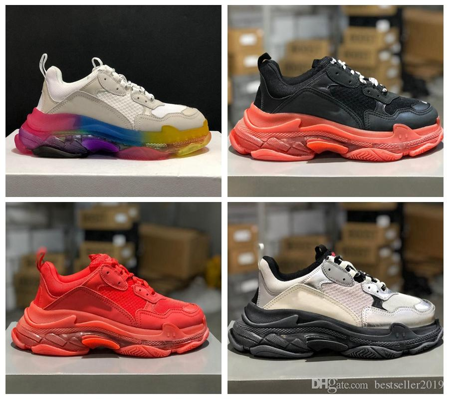 2019 Sole Coussin clair Rainbow Triple-S Casual Sneakers Dad Chaussures Femmes Hommes Mode Formateurs Designer Noir Rouge BETURE Paniers