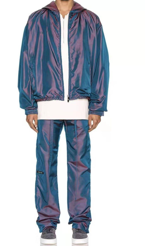 20FW التدرج السراويل أزياء ذات جودة عالية كبير جدا مطاطا الخصر نايلون طويل سروال للرجال مصمم السراويل HFKYKZ003