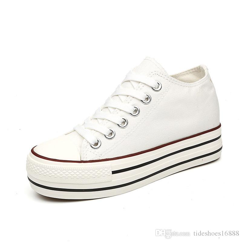 Marke Frauen Casual Denim Schuhe Flache Plattform Keile Frau Segeltuchschuhe Schwarz Weiß Turnschuhe Blau Hohe Qualität Frühling Herbst Schuhe