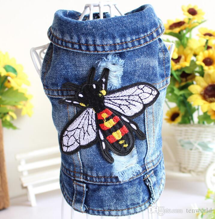 2019 Haustiere Serie Mode Kleidung Biene Bestickte Jeans Teddy Bichon Bulldog Habiliment Hundebekleidung Vierbeiniges Kleidungsstück Neues Produkt