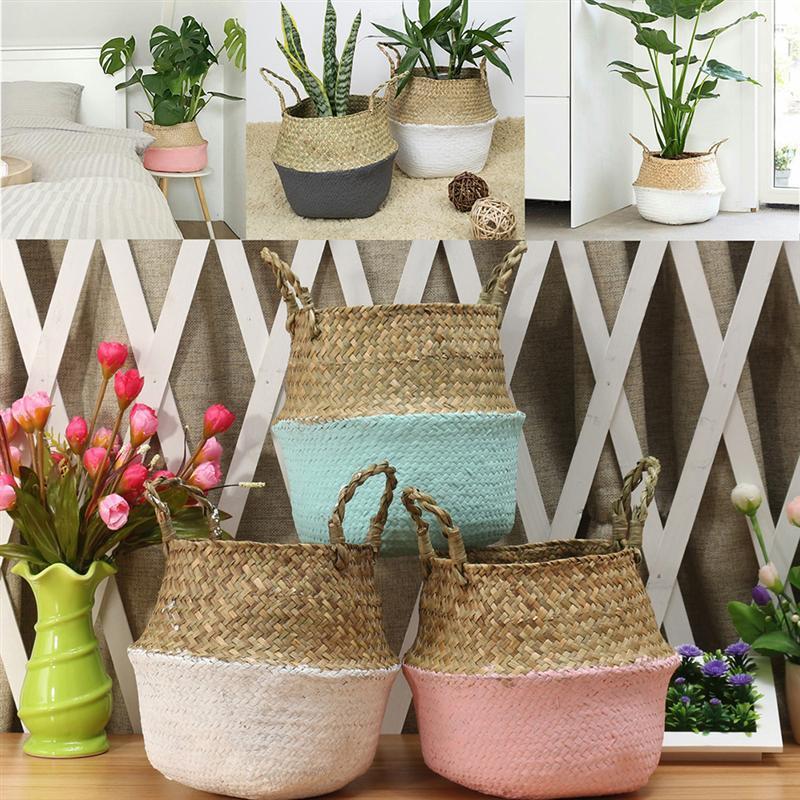 Cestini di bambù di immagazzinaggio pieghevole lavanderia rappezzatura della paglia vimini rattan Seagrass Belly Garden Flower Pot Planter fatto a mano carrello
