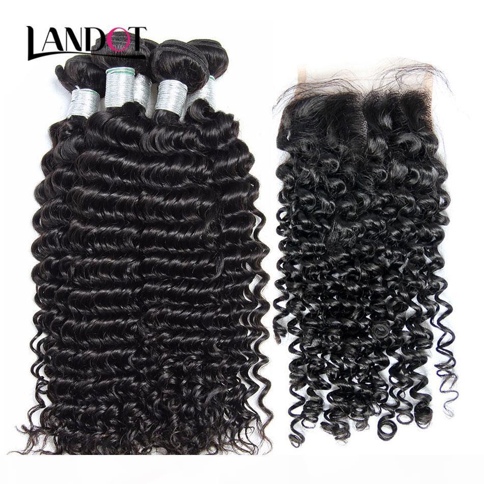 Бразильские вьющиеся девственницы человеческих волос Weaves 4 пучка с кружевными замыканиями перуанского малайзийского индийского монгольского глубокого Джерри вьющиеся волосы