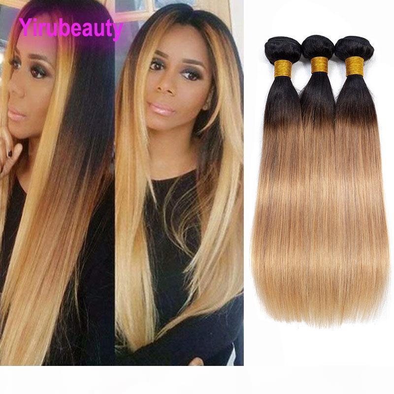 A Brazilian Virgin Human Hair Extensions 1b 27 Silky Straight Three Bundles Double Wefts 1b 27 Ombre Color 3 Pieces