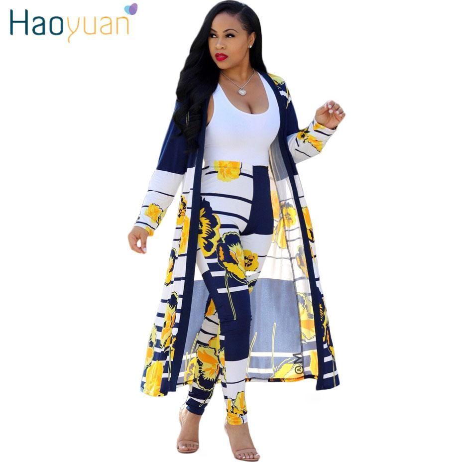 haoyuan의 2 종 세트 여성 2018 플러스 사이즈 카디건 긴 트렌치 상단과 Bodycon 바지 정장 캐주얼 의류 여름 두 조각 복장