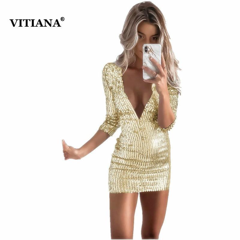 Повседневные платья Vitiana Женщины Короткие Сексуальные Партии Свиновые Платье Женский 2021 Лето Глубокий V Шея Сплошной Золотой Черный Клуб Носить Bodycon Mini Sale