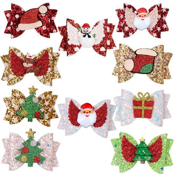 아이 헤어핀 아기 헤어핀 Bowknot 크리스마스 반짝이 헤어핀 크리스마스 트리 크리스마스 모자 산타 인쇄 크리스마스 파티 선물 헤어 액세서리 WY60Q