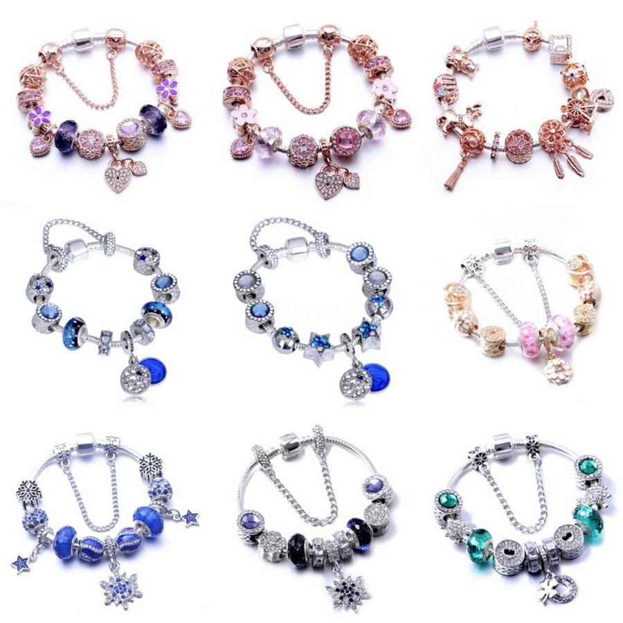 Nueva DIY perlas para la joyería que hace encantos Auténtico 925 aleación Familia claro homenaje Crystal joyería adapta pulsera de las mujeres Accessor # 465