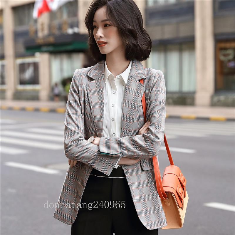 BS681 Yüksek Kalite Kumaş Sonbahar Kış Örgün Kadın Ekose İş Blazer ve Ceketler Bayanlar Ofis Iş Elbisesi Blazer Dış Giyim Tops