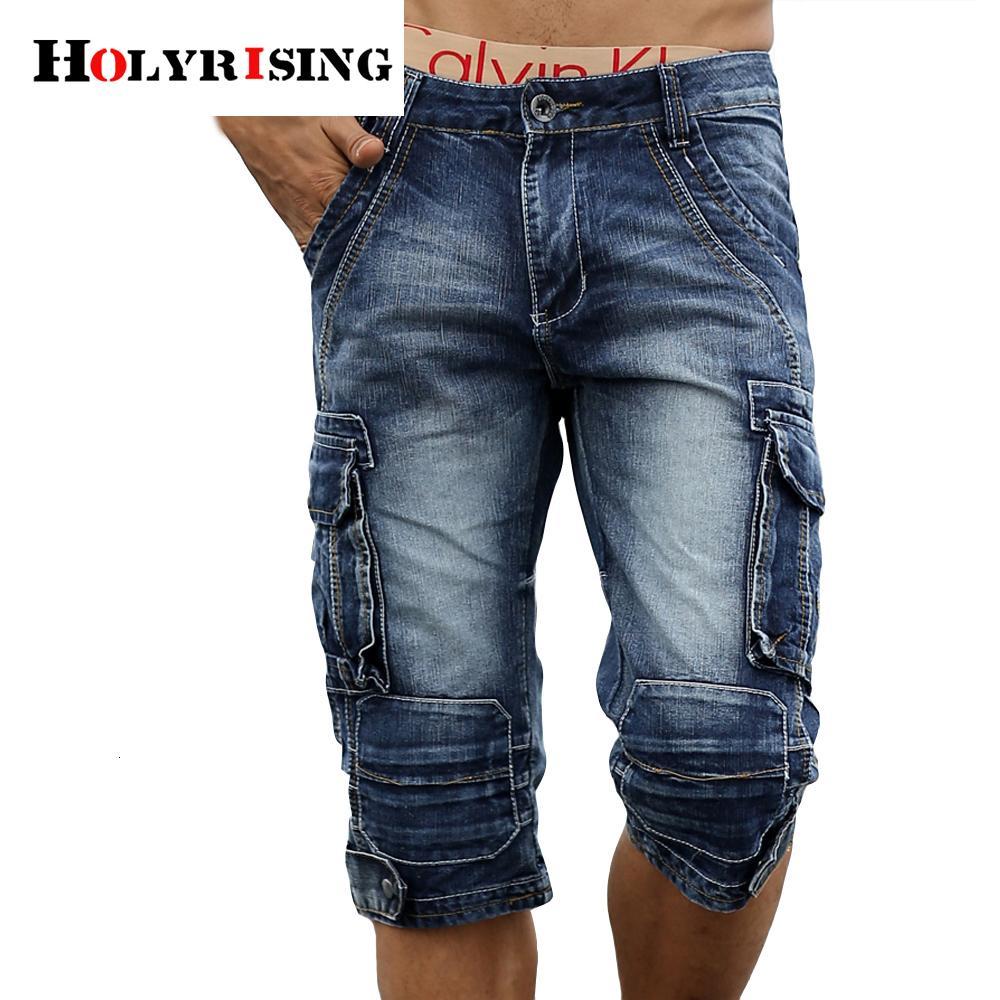 Homens Carga bermudas Homme Masculino Moda Shorts denim lavado curtos Jeans Shorts Homme MX190718