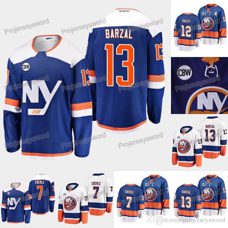 New York Islanders Mathew Barzal Jersey CBW Patch Eberle Josh Bailey Thomas Greiss Thomas Hickey Matt Martin Luca Sbisa Devon Toews Jerseys