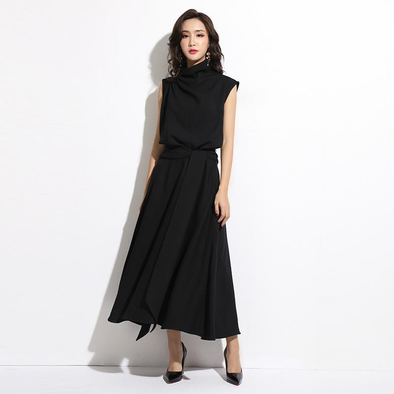 Casual Dresses 2021 Summer Korean-Style Style Temperament Waist Sleeveless Dress Breathable Loose Bandage Cloth Solid Color