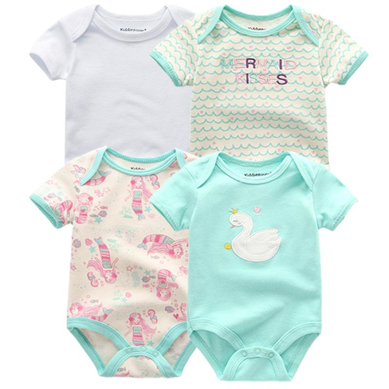 4 Pcs/lot Baby Romper Pink Red Short Sleeve Cute Suit Clothes Sets 2019 Summer Jumpsuit Baby Boy Girl Clothing Baby Costume Y19050602