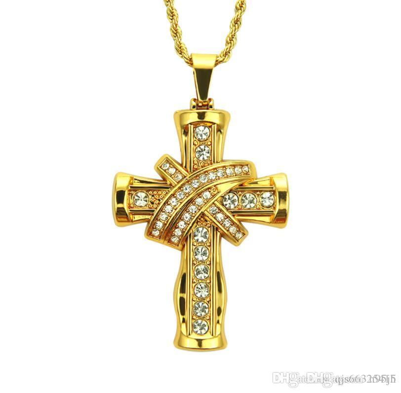 Христианский крест Распятие Подвески Ожерелья Панк 18K желтое Позолоченные Циркон CZ Hiphop Mens Long Chain Collier ювелирные изделия