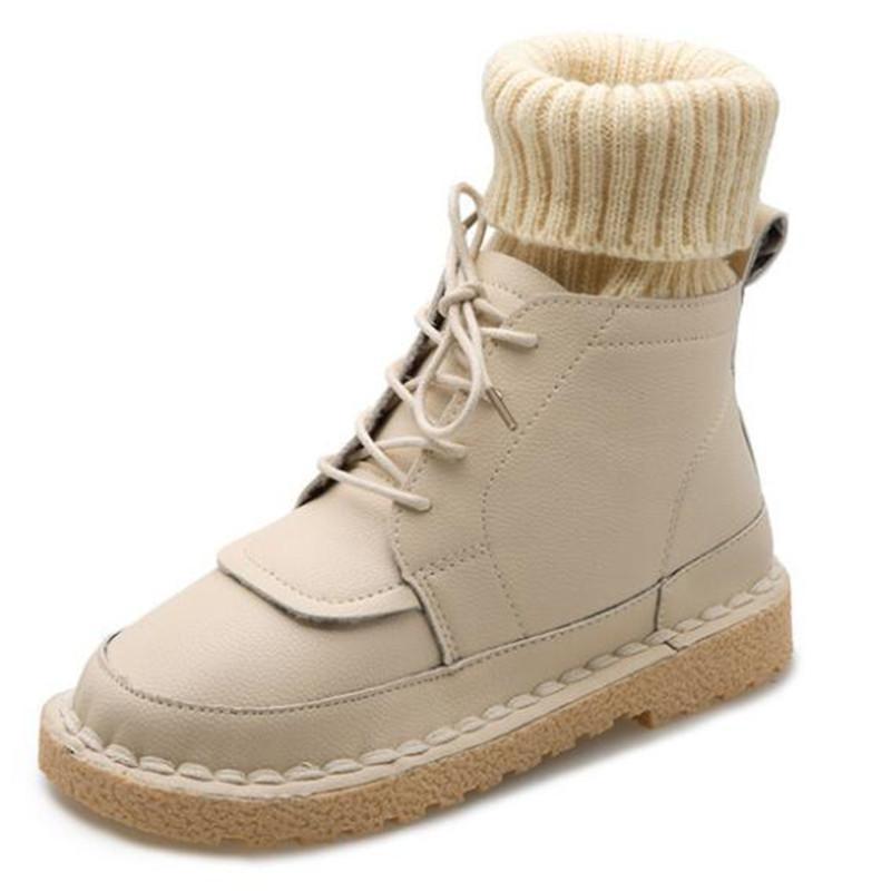 Venda- botas de inverno quente de outono lã selvagem boca botas femininas Esportes rendas planas suaves de fundo baixo do tubo