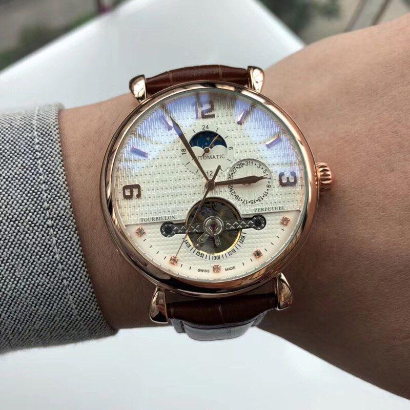 Лучшие мужские часы наручных часов механических автоматический Весь суб-набор работы маховик мужских моды часов для мужчин лучшего подарка