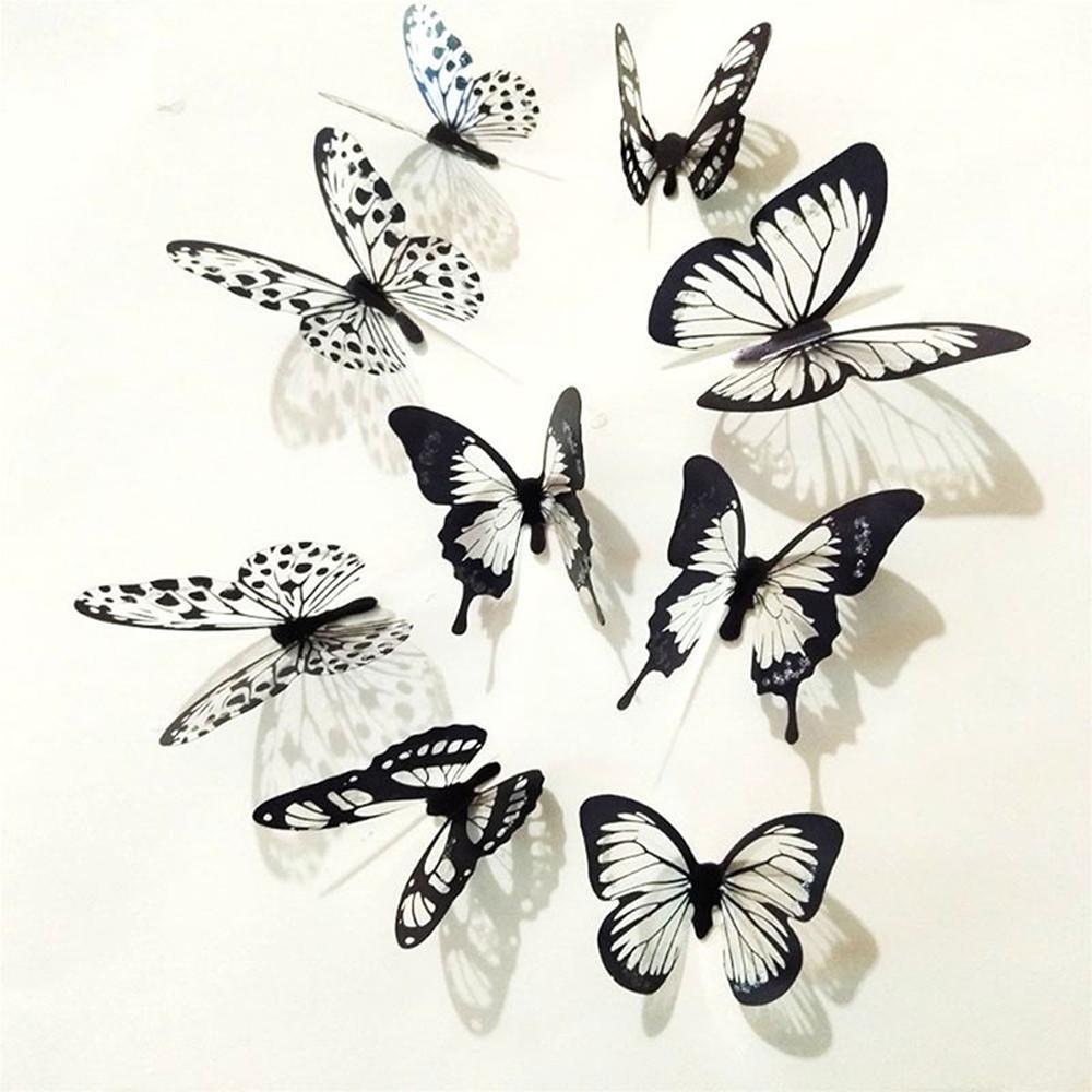 36 Pcs papillon blanc noir autocollant 3D Art Mural Stickers muraux Décoration Chambres Enfants Party Décor mariage Stickers muraux