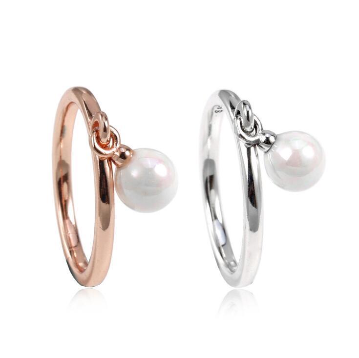 Europa y América Nuevo 100% 925 Anillo de perlas colgante de plata esterlina para mujer.