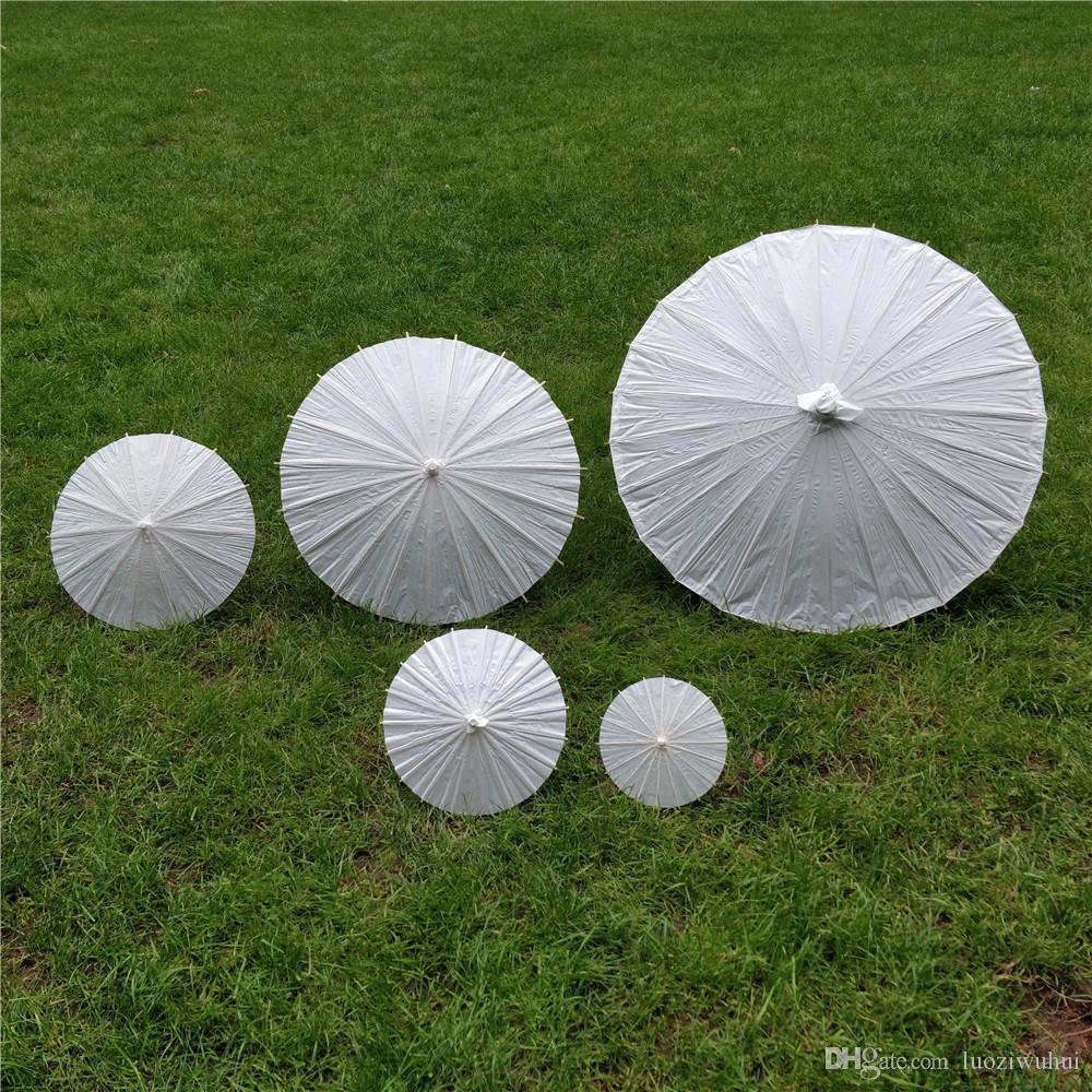 Eco-friendly Paper Umbrellas White Color Long-handle Bridal Wedding Umbrellas Chinese Mini Craft DIY Umbrella 4 Diameter 20cm 30cm 40cm