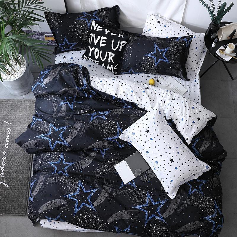 étoile noire Linge de lit Haute Qualité 3 / 4pcs Literie Housse de couette drap de lit plat taie doux double simple reine pleine roi T200110
