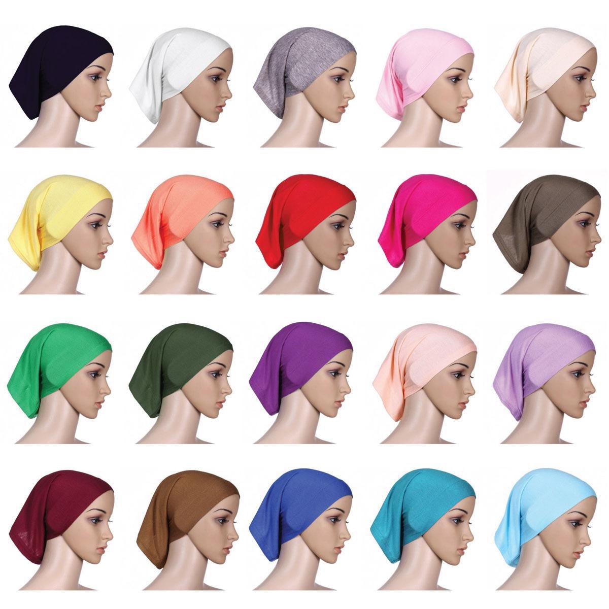 Musulmanes Inner HiJAB Cabeza de Pañuelo de cabeza Sombreros Sombreros Caliente Ninja Bufanda Ramadán Stretch Bonenet Caps 20 Colores KKA7531