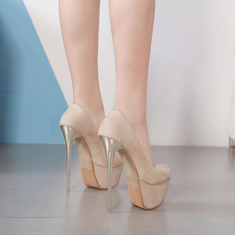 Sıcak Sale-16cm Seksi Bej Pompaları Kadın Ultra Yüksek Topuk ayakkabı tasarımcısı 2019 siyah çıplak sentetik süet boyutu 34-40