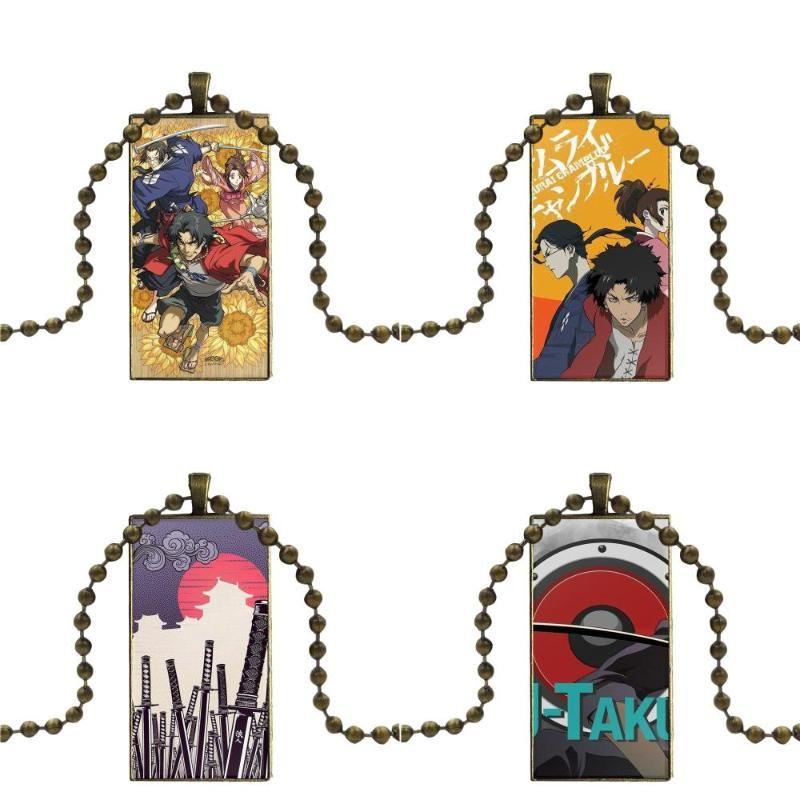 الزجاج كابوشون قلادة قلادة مستطيل قلادة برونزية اللون والمجوهرات الخرز لأطفال اليابان ساموراي تشامبلو