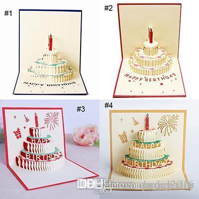 4 Stilleri 3D kart doğum günü pastası 3D Pop UP Hediye Tebrik Nimet Kartları El Yapımı kağıt silhoue Yaratıcı Mutlu noel kartları