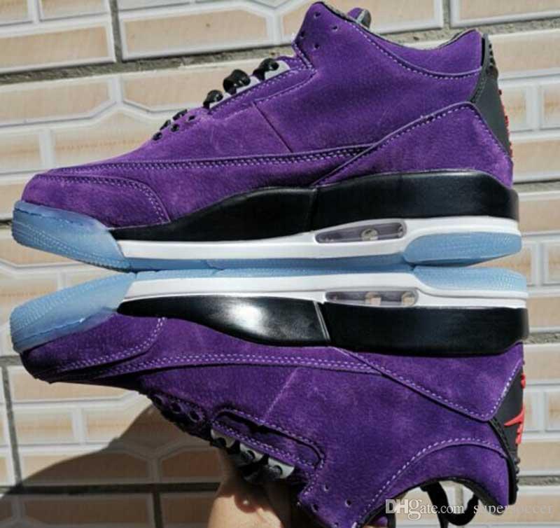 Nuovo arrivo pattini di pallacanestro casuali viola di moda 3 Mens 3s Sport Jogging scarpe da tennis Taglia 40-47