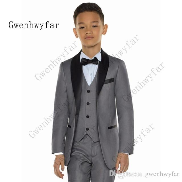 Gwenhwyfar White/grey/blue Boy Costume Set Kids Boy Suits for Weddings Prom Suits Kids Formal Dress for Boys Kids Jacket Pants vest