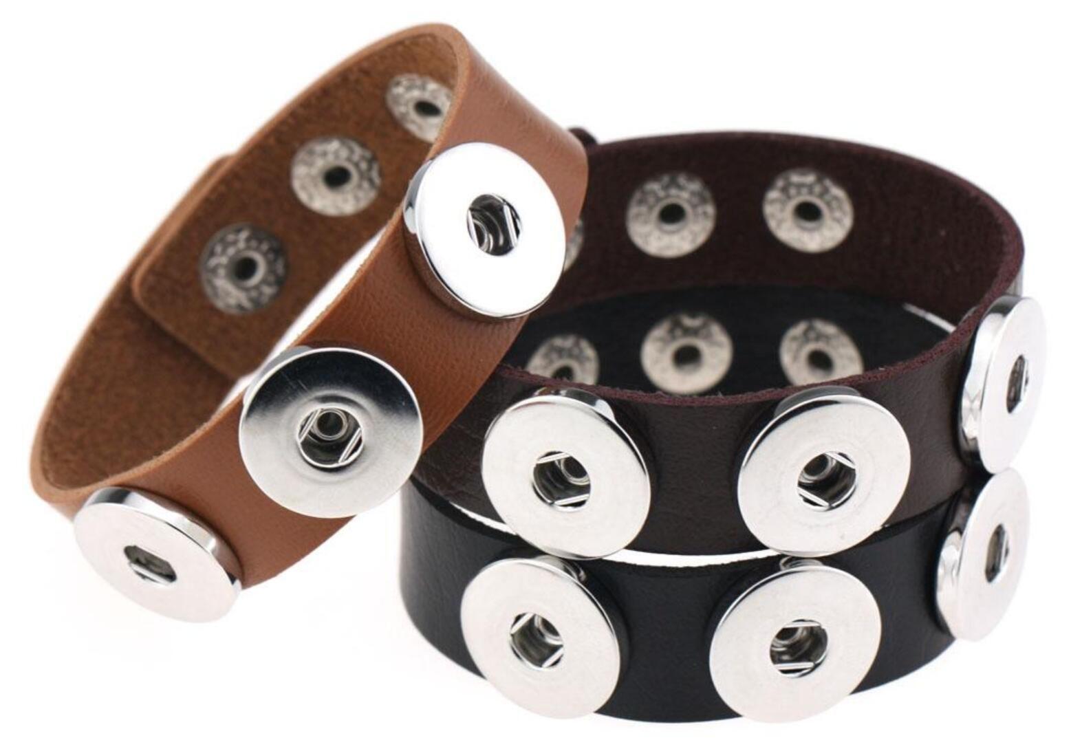 جديد التقط BraceletBangles زر 14 لون جودة عالية أساور من الجلد PU للنساء 18mm والتقط زر مجوهرات