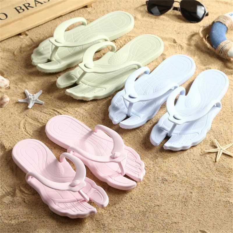 Damen Hausschuhe Sommer Folding Travel Tragbarer Slippers Heim Flipflops Strand mit flachem Boden Licht Weibliche Sandalen Flip-Flops