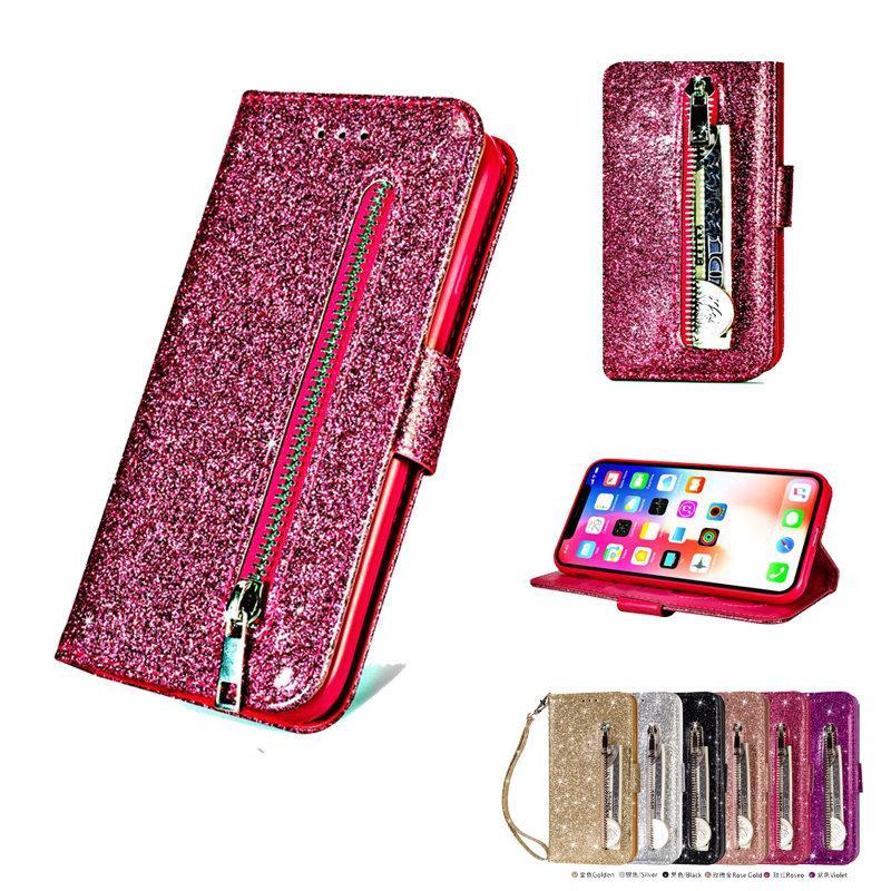 بلينغ زيبر ل كوكه iPhone Xs Max Case Luxury Etui iPhone Xr XMax X 8 7 6 6S Plus Flip Cover Wallet إلى Apple iPhone 8Plus