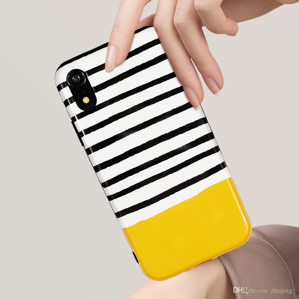 Fashion Stripe Case Pour iPhone XS XR XS Max X 8 7 6 6 S Plus Doux IMD Poudre De Perle Tout Le Corps Téléphone Couverture Arrière Couverture Cas Cadeau