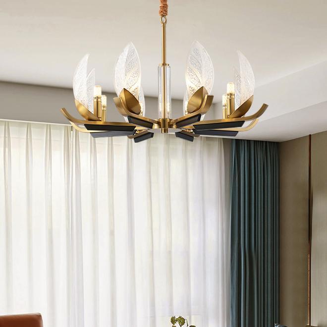 Nuovo design europeo high-end lampadari in vetro di rame luci LED di Lusso Lampadario A Sospensione Illuminazione per villa soggiorno camera da letto