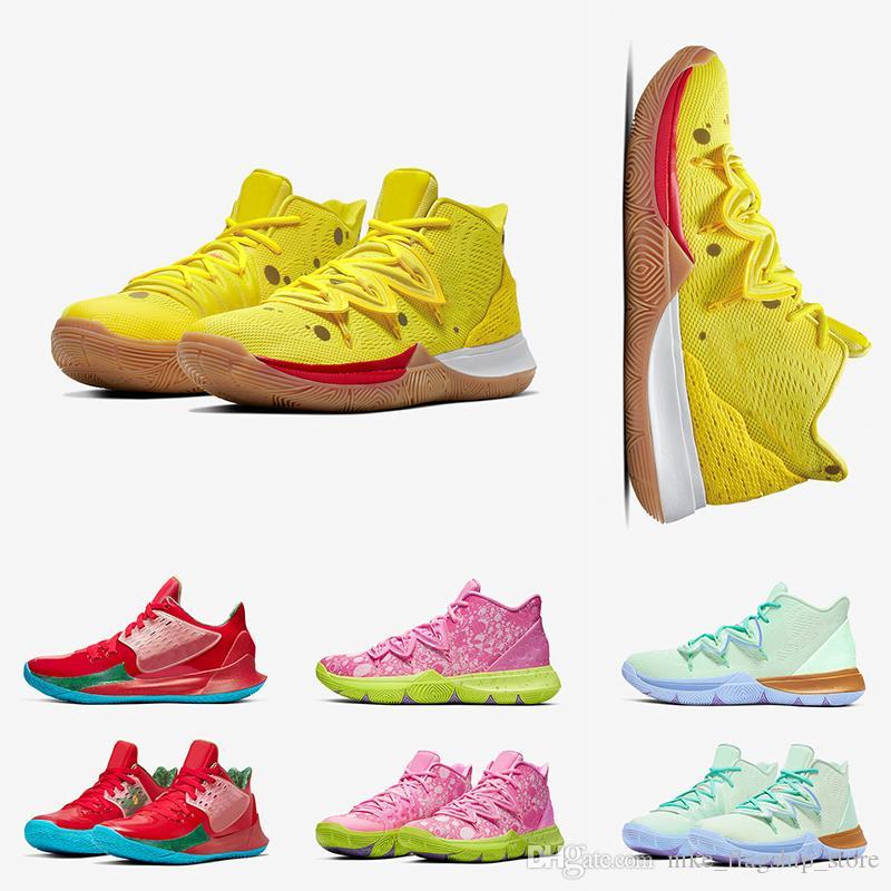 De alta calidad para hombre Kyrie Zapatos de baloncesto de televisión PE 5 al cumplirse 20 años SpongenbspBob x KyrienbspIrving 5s diseñador de zapatillas de deporte Deportes