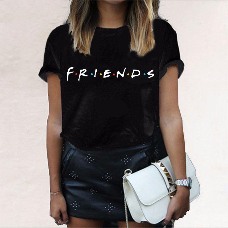 Women Shirts Women Clothes Summer Fashion Harajuku Friends Letter Tee Shirt Femme Grunge Glasses Friends Tv Casual Tshirt Women Tops