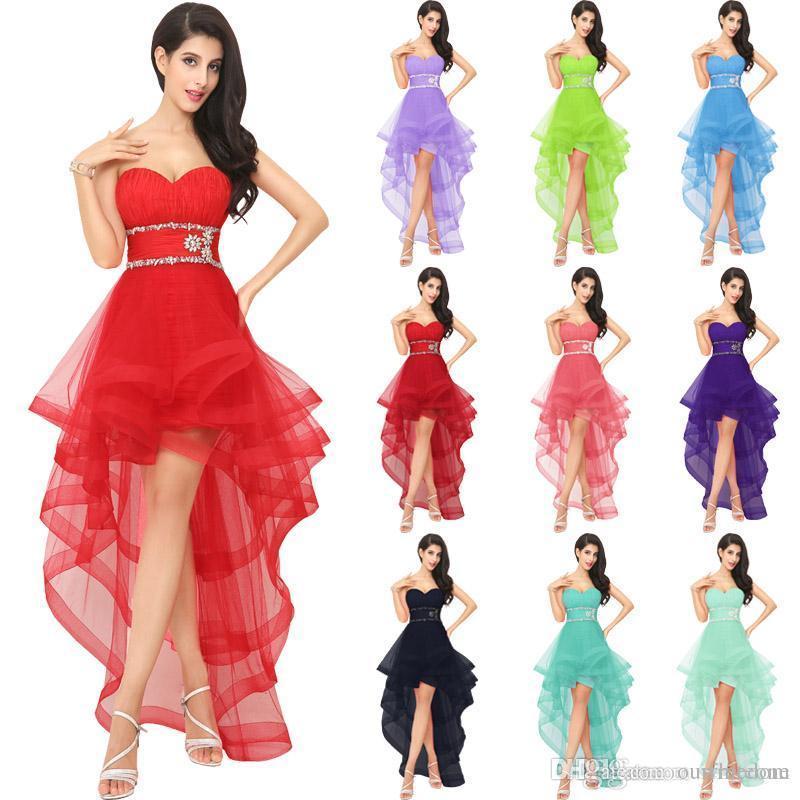 Реальное изображение Красный тюль высокий низкий Homecoming платья для девочек роскошные Кристалл открытой спиной платье вечерние платья