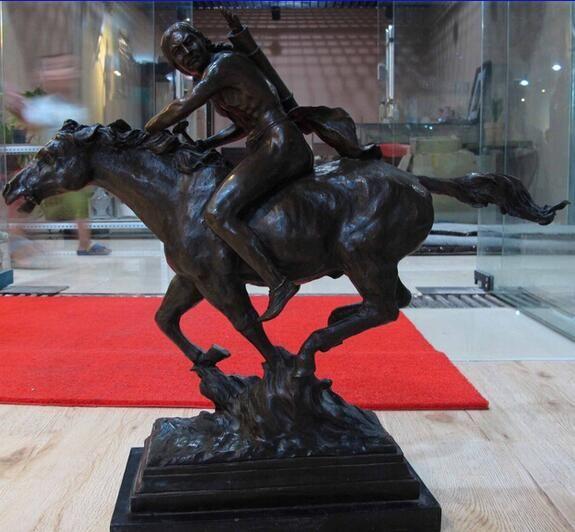 Batı Sanat Dekor Bronz Bakır Mermer Taban Mason Ride At Heykeli Heykel