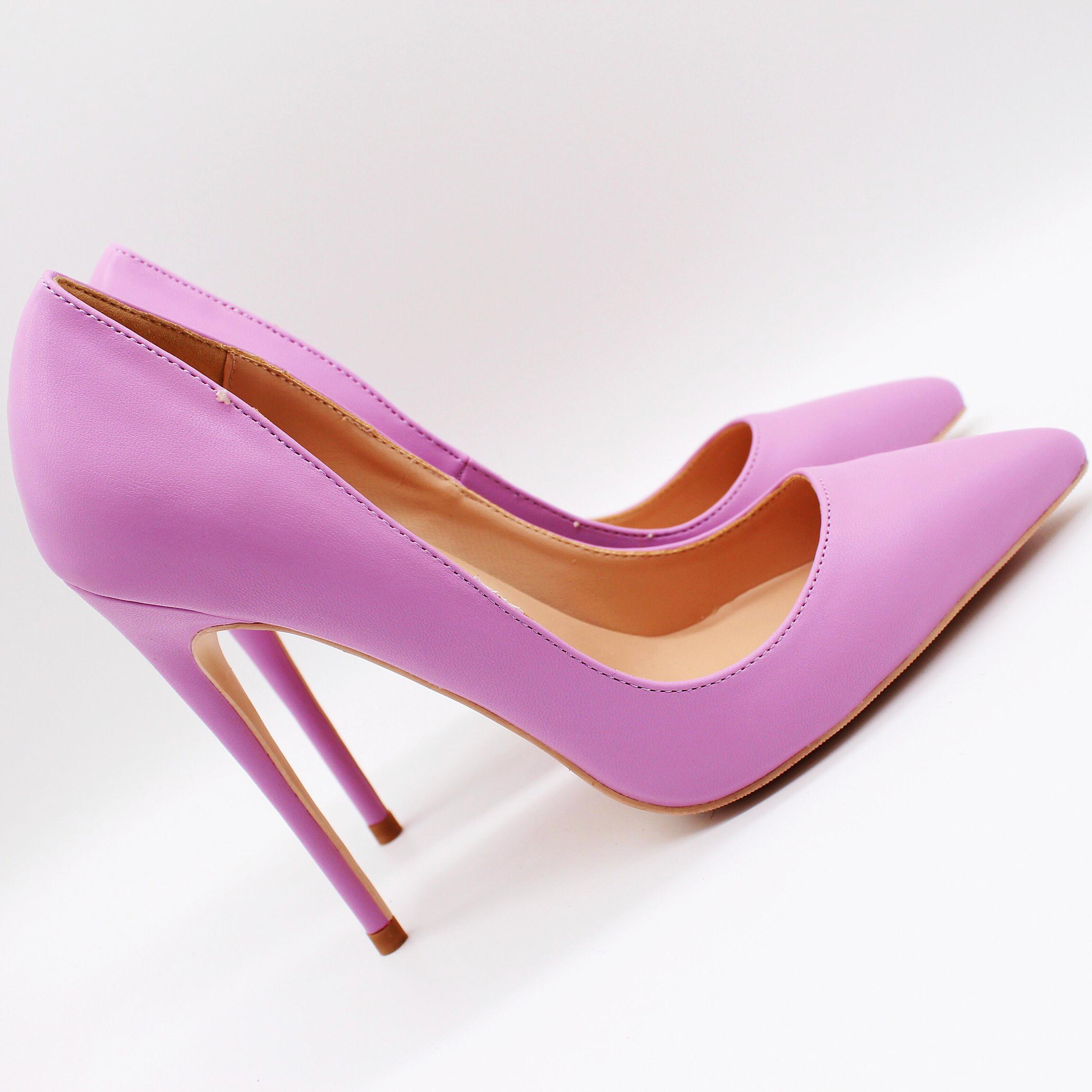 Blingbling Frauen Schuhe mit hohen lila Stilettos Fersen mattes Leder Punkt Zehe reizvolle Absatzpumpen Hochzeit Schuhe pumpt 12cm 10cm 8cm praty