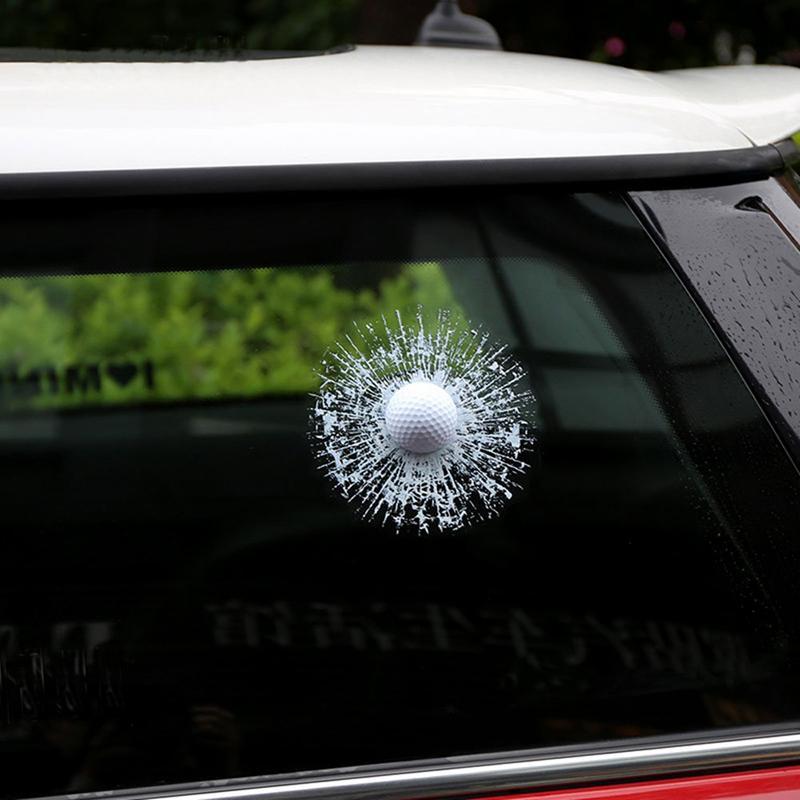 Car 3D Sticker White Golf Ball Football Basketball Tennis Baseball Hit Glass Window Windshield Creative Sticker