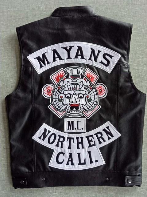 Mayans MC Moto Punk Locomotiva PU in pelle Black Gilet uomo Abbigliamento moda Black Cappotto nero