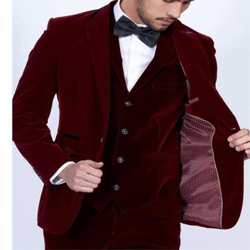 Wine Red Velvet Men Suits 3Pieces(Jacket+Pant+Vest) Tuxedos Fashion Costume Homme Terno Slim Fit Wedding Party Prom Mens Suit